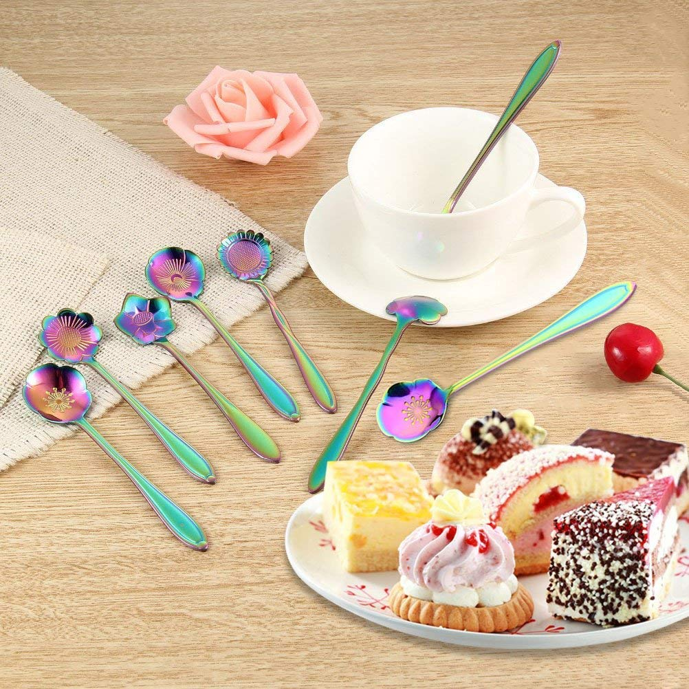Flower Coffee Teaspoons,8pcs Stainless Steel Teaspoon Colorful Coffee Spoon Cute Kitchen Utensil for Stirring//Mixing//Dessert//Ice Cream Spoon Perfect Gifts for Coffee Lover