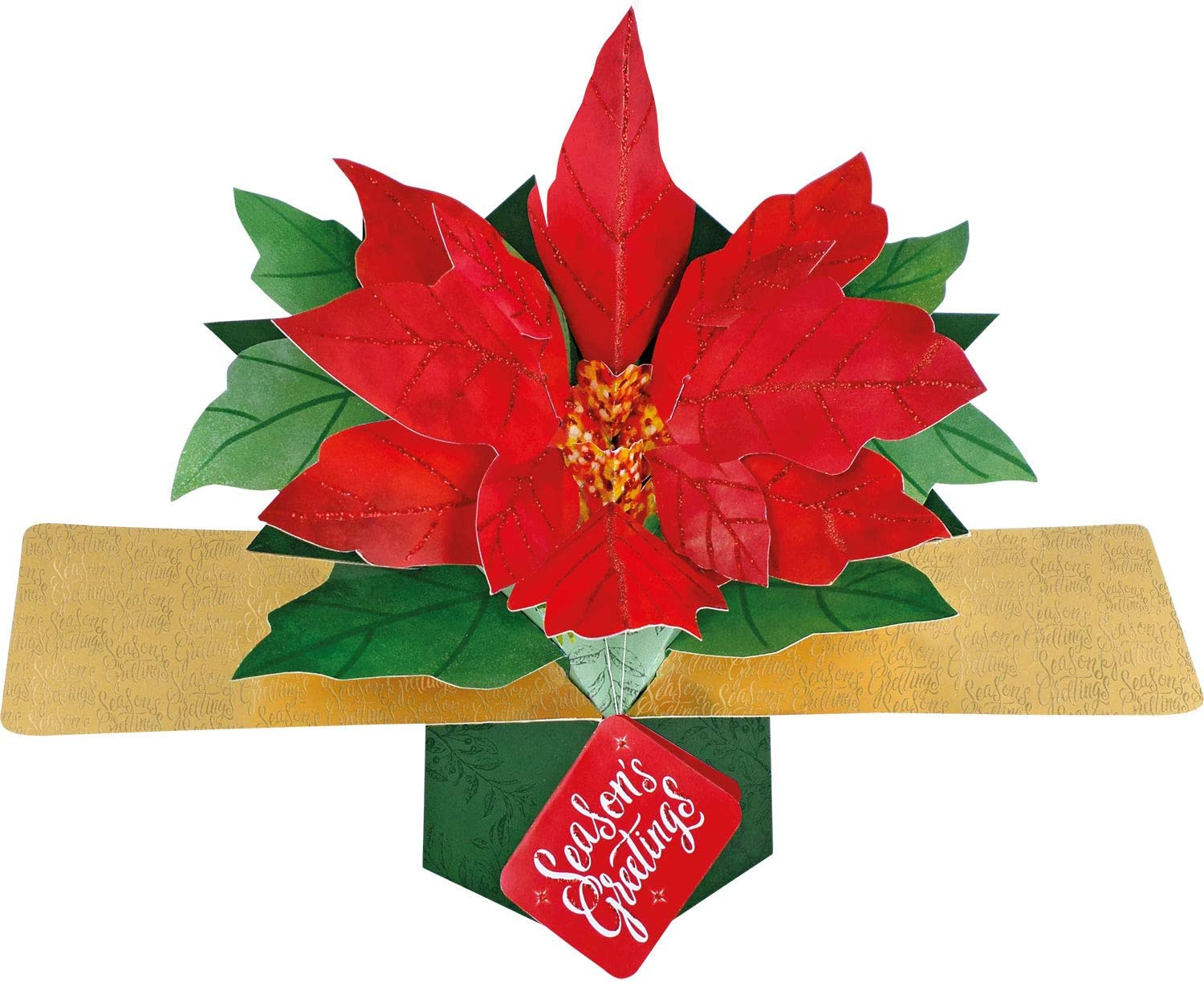 Second Nature XPOP047A Christmas Pop Up Card with a Poinsettia