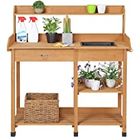 Deals on Yaheetech Potting Outdoor Garden Work Bench w/Sink, Drawer