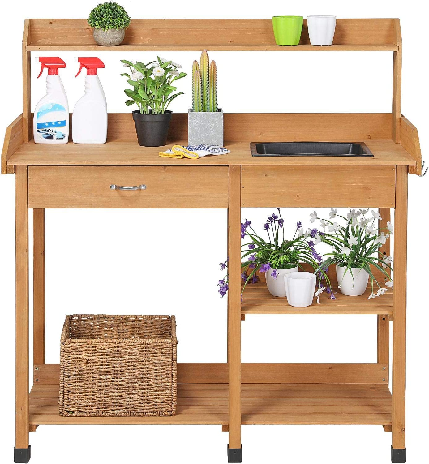 Lakewood 3 Person Swing, Amazon Com Yaheetech Potting Bench Outdoor Garden Work Bench Station Planting Solid Wood Construction W Sink Drawer Rack Shelves Natural Garden Outdoor