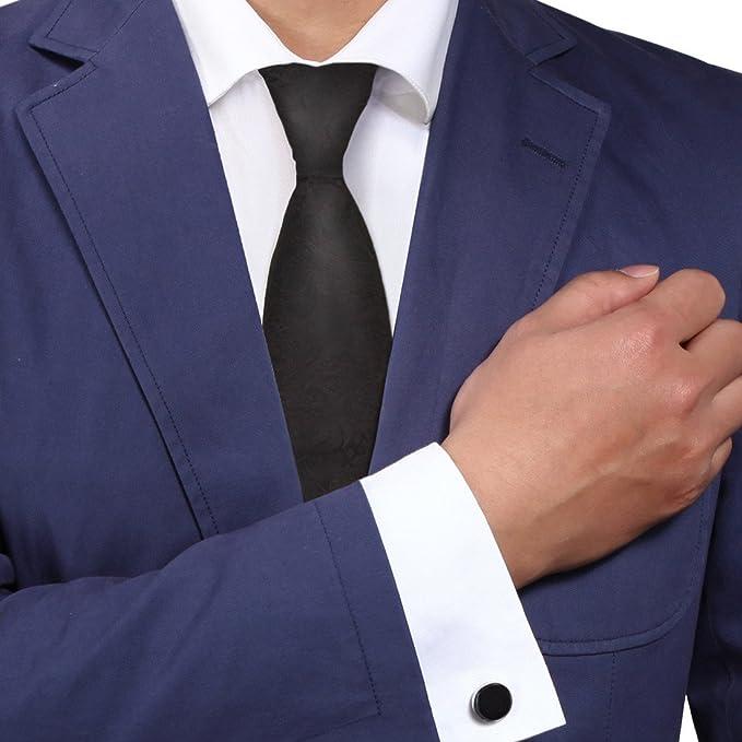 Amazon Com Y G A8052 Black Tie Patterned Woven Silk Necktie