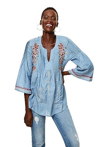 Desigual – Camisas – Túnica – Floral – manga 3/4 – para mujer