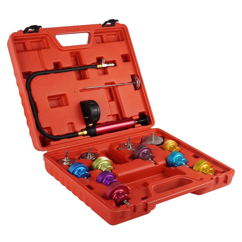 TURBO SII 14 PCs Pressure Cooling System Car Leak Tester Kit Detector Tool Gasket Water Tank Adapter Test Kit Gauge Set Tools
