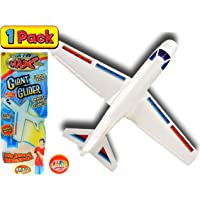 """2GoodShop Giant Airplane Styrofoam Plane Foam Glider 22"""" (1 Pack) Throw The Plane and Watch It Glide for Outdoor Toys Fun. Party Favor Bulk for Kids and Adults. Plus 1 Bouncy Ball 