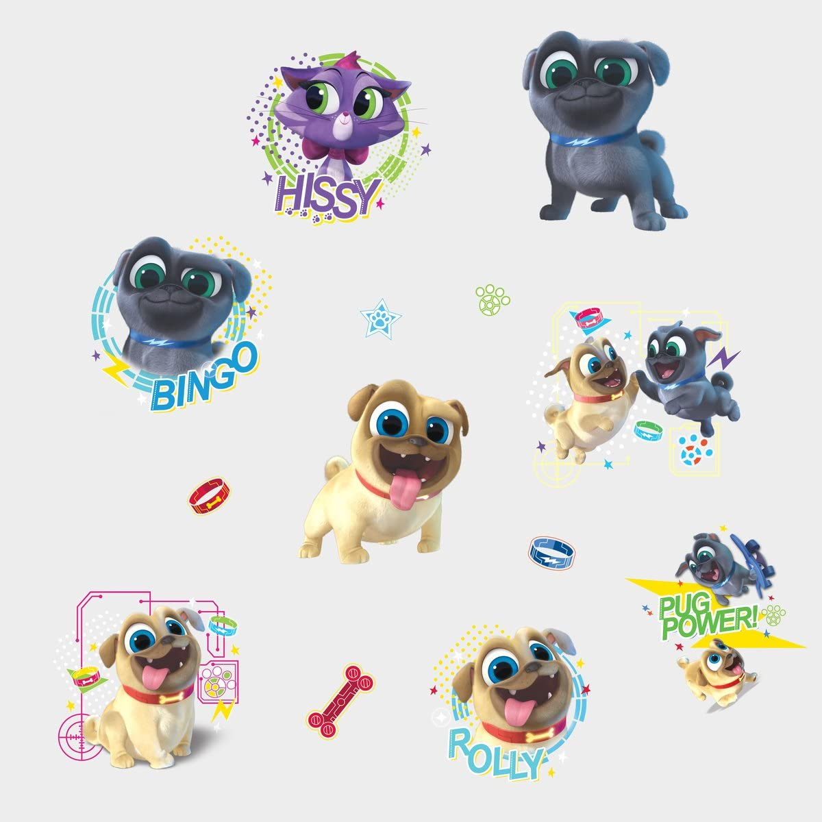 Amazon Com Roommates Puppy Dog Pals Peel And Stick Wall Decals 9 X 17 375 Blue Brown Red Yellow Rmk3776scs Home Improvement