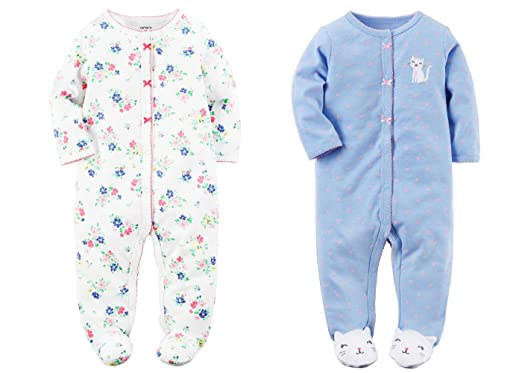 a95a77520 Amazon.com  Carter s Set of 2 Baby Girls Cotton Footed Sleeper Sleep ...