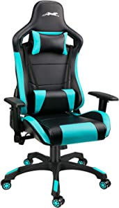 Leopard Gaming Chair, High Back PU Leather Office Chair, Swivel Racing Chair with Adjustable Armrest - Black/Light Blue