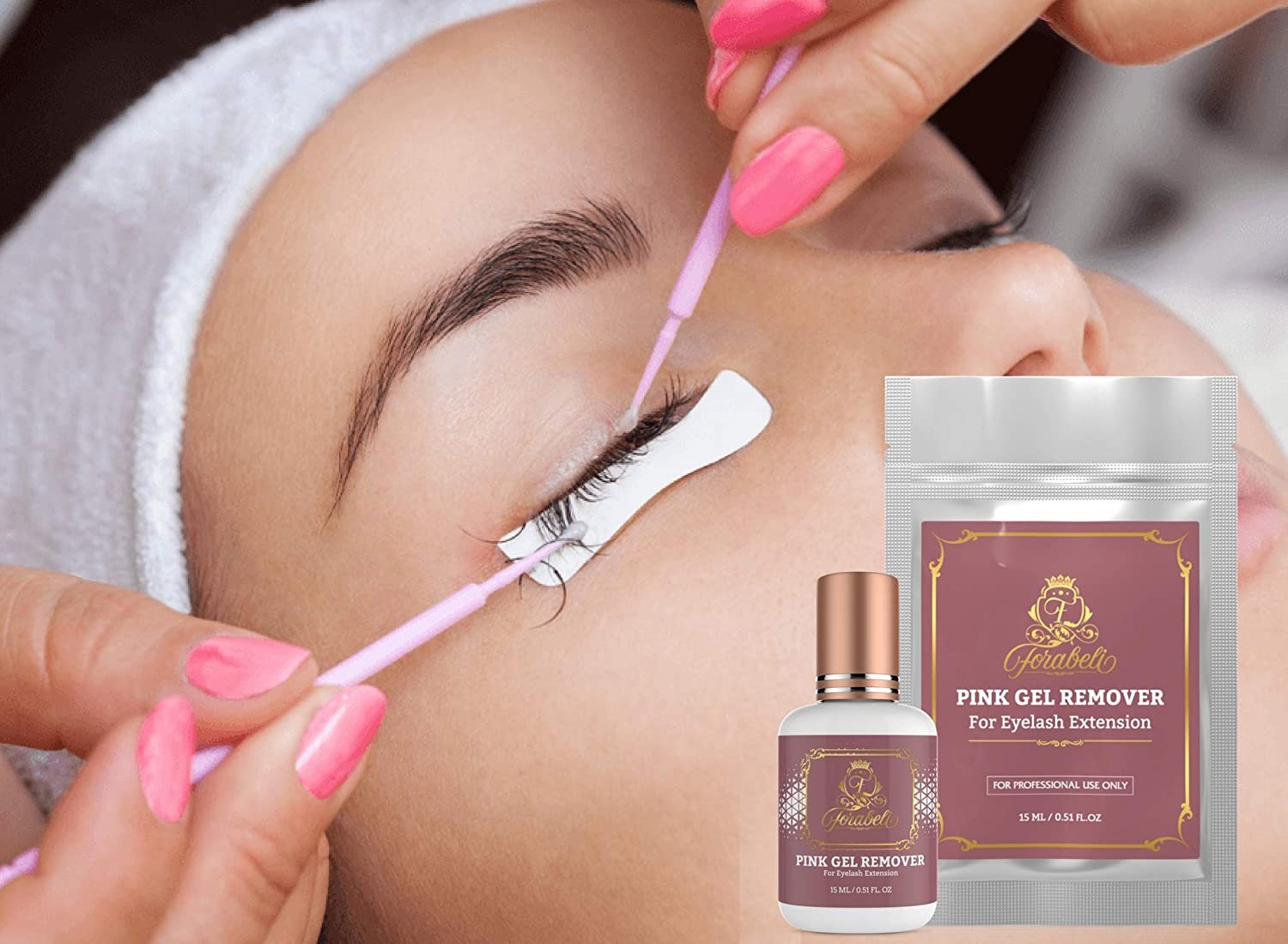 c83691b2d02 Amazon.com : PINK GEL REMOVER for Eyelash Extension Glue 15 ml Forabeli l  Fast Adhesive Dissolution time 60 seconds | Professional Individual Lash  Removing ...