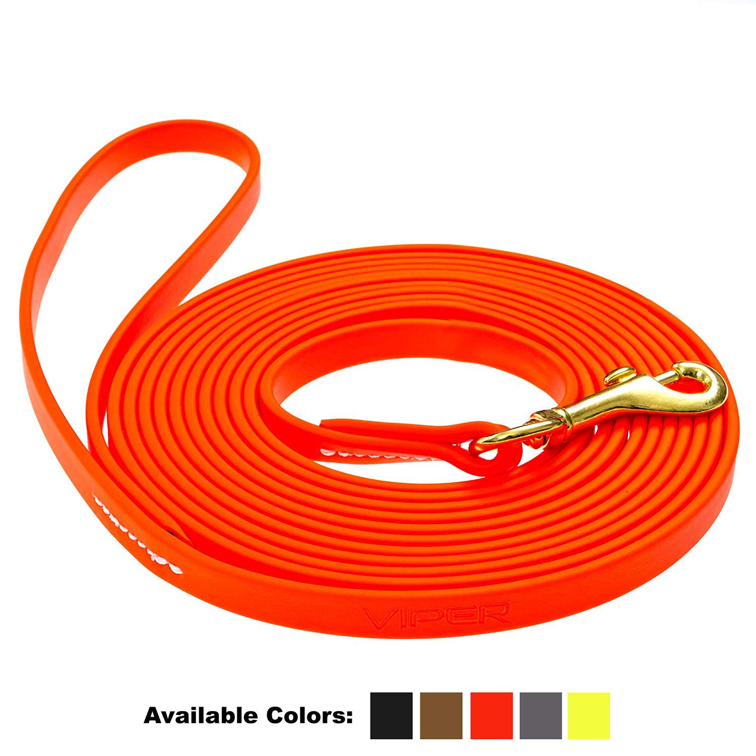 Viper Biothane Working Tracking Lead Leash Long Line for Dogs 2 Colors and 6 Sizes by Viper