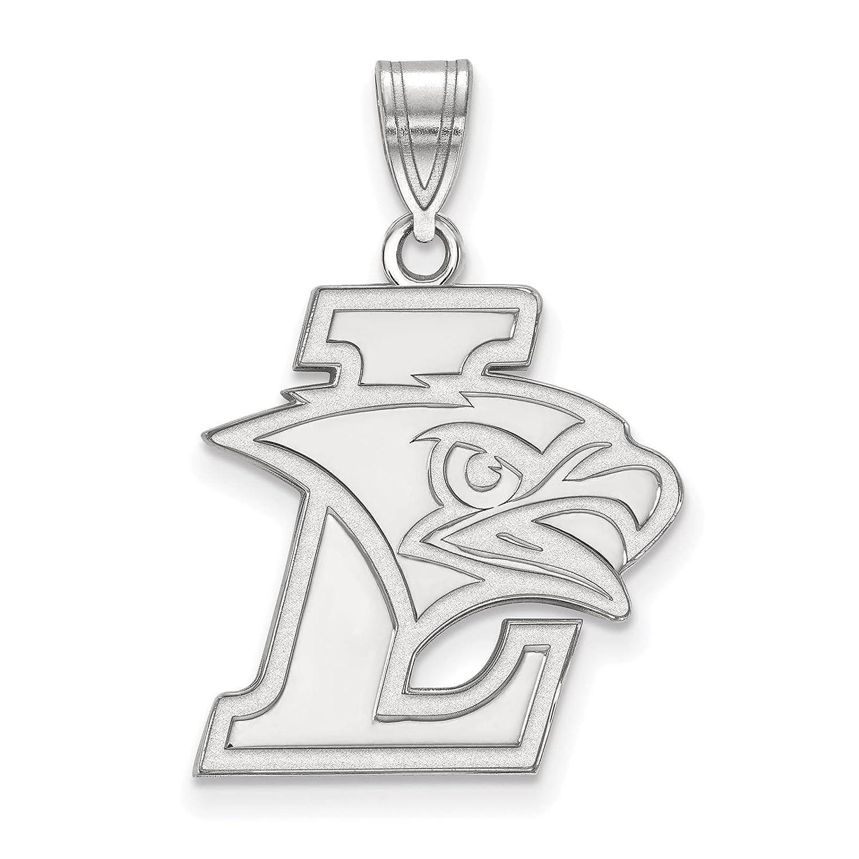 925 Sterling Silver Rhodium-plated Laser-cut Lehigh University Large Pendant