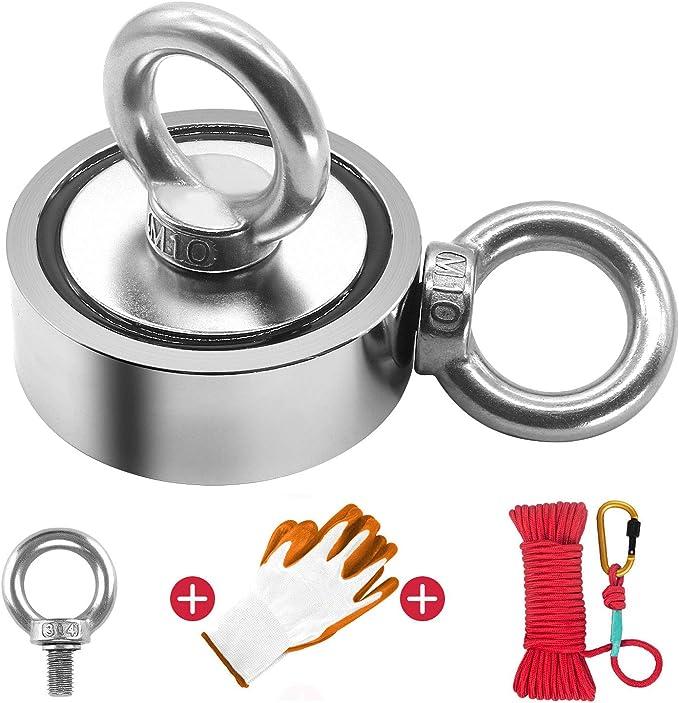 Durable Hook Neodymium Powerful Force Small Eyebolt River Fishing Round Magnet