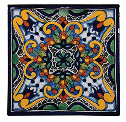 Amazoncom Handpainted Talavera Mexican Tile X Zinnia - Discount mexican tile