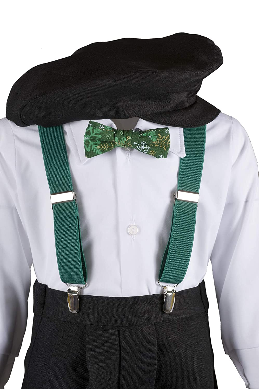 Boys Black Knickers Pageboy Cap with Suspenders /& Snowflake Bow Tie