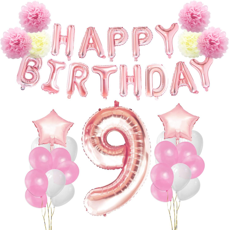 KUNGYO 9 años Oro Rosa Decoraciones de Fiesta de Cumpleaños - Happy Birthday Bandera de Globos, Globos de Aluminio Número y Estrella, Cintas Decorativas, Flores de Papel, Globos de Látex: Amazon.es: Juguetes