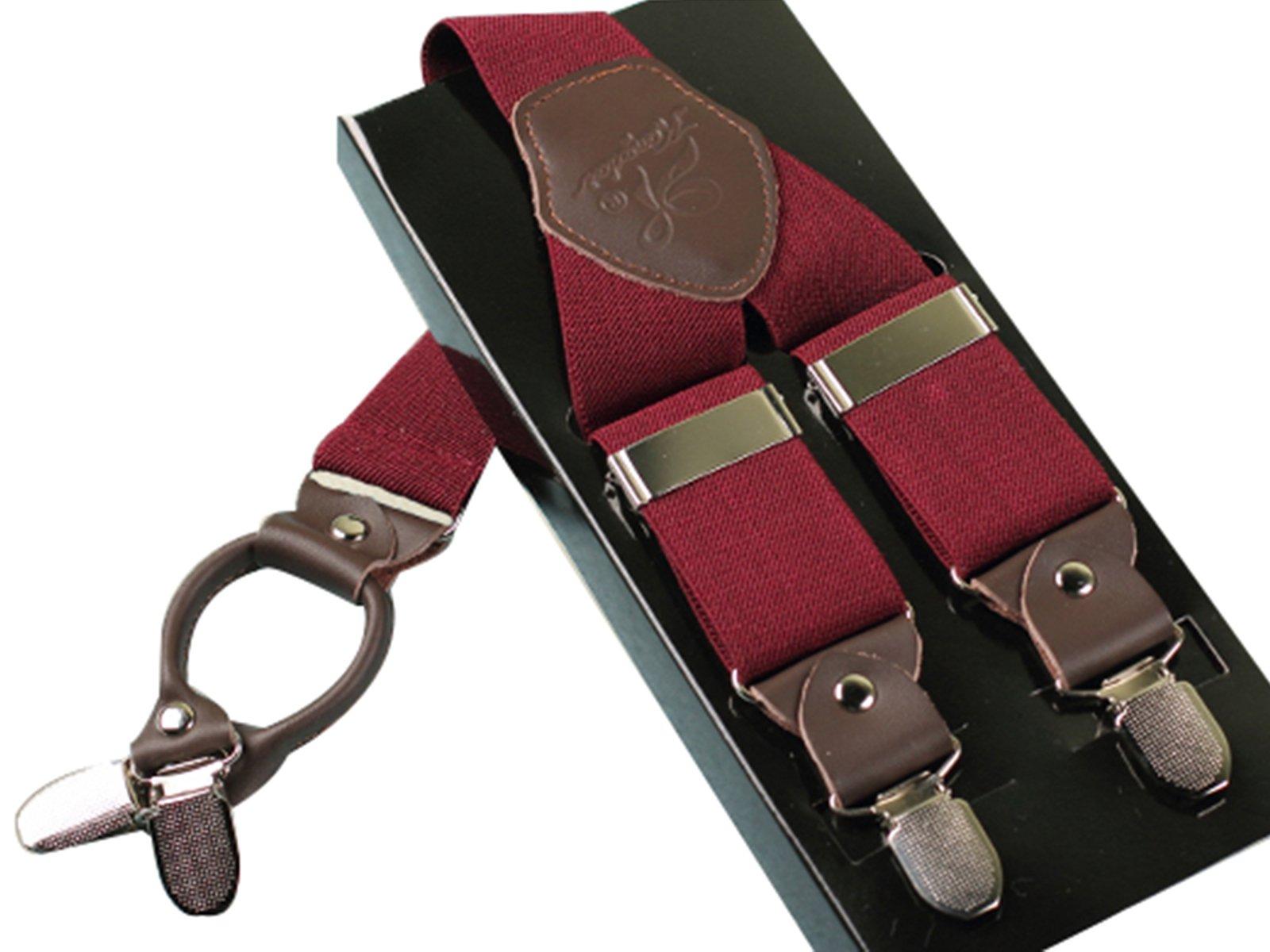 Panegy Men's Solid Suspender Adjustable Y-Shape Suit Brace with 4 Metal Clips (Wine Red)