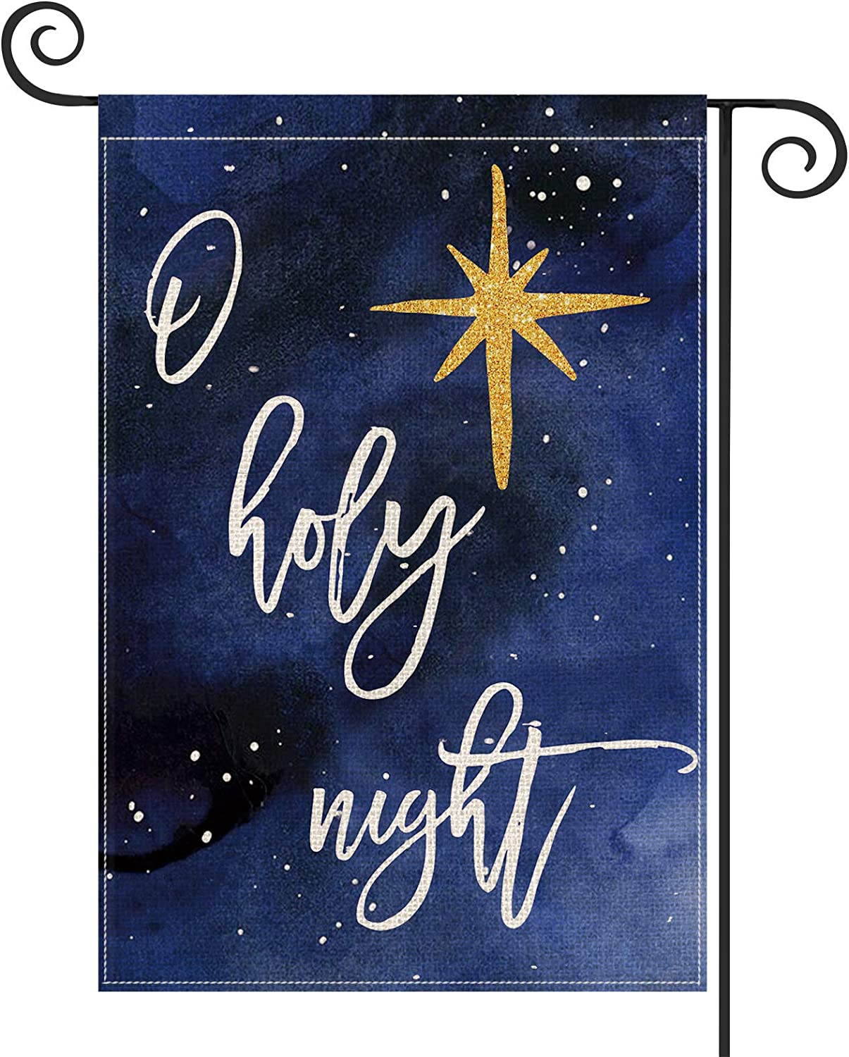AVOIN O Holy Night Star Watercolor Garden Flag Vertical Double Sized, Christmas Winter Holiday Yard Outdoor Decoration 12.5 x 18 Inch