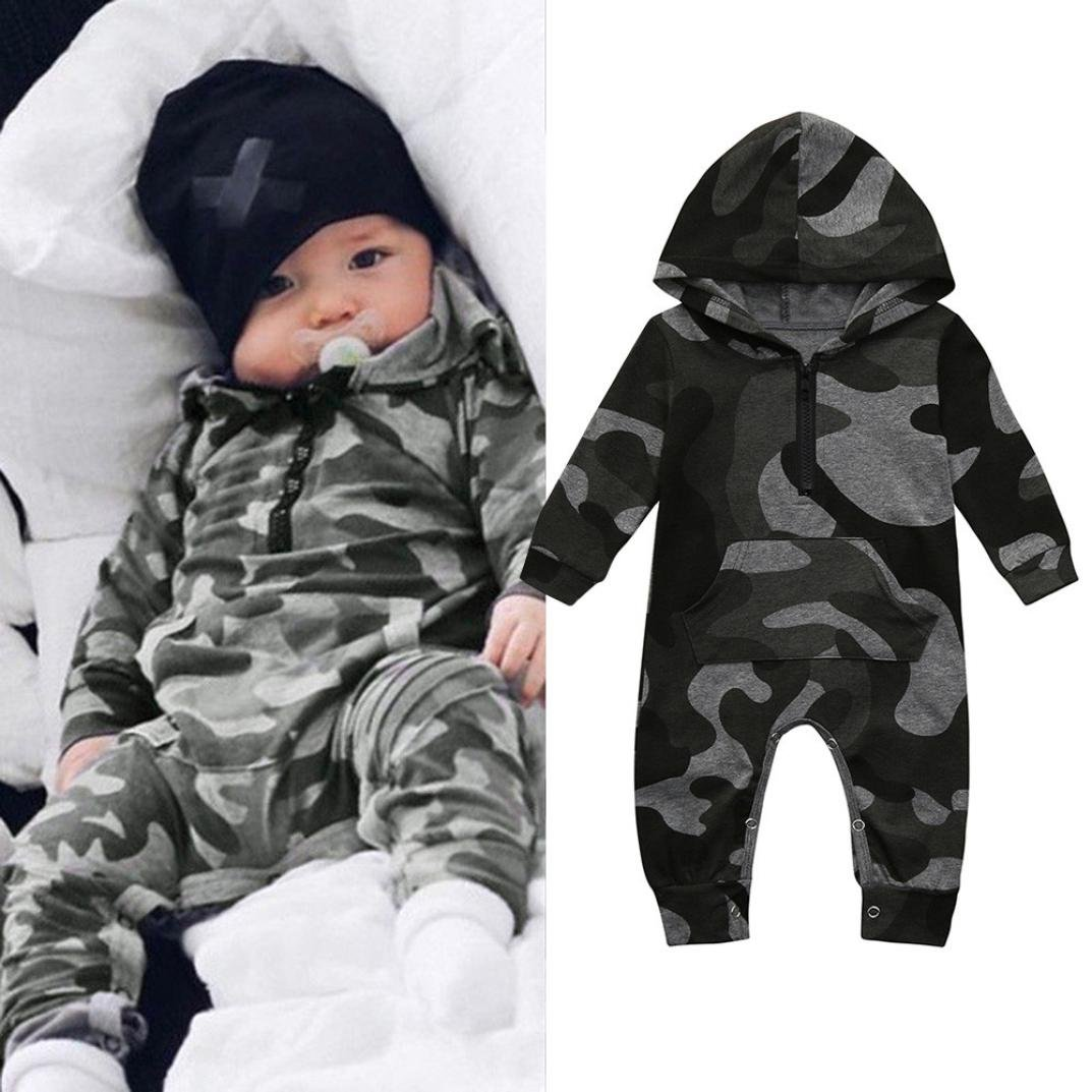 CHshe Newborns Baby Boys Summer Long Sleeve Camouflage Print Hooded Romper Jumpsuit Party Outfits Clothes for 0-18 Months Camouflage