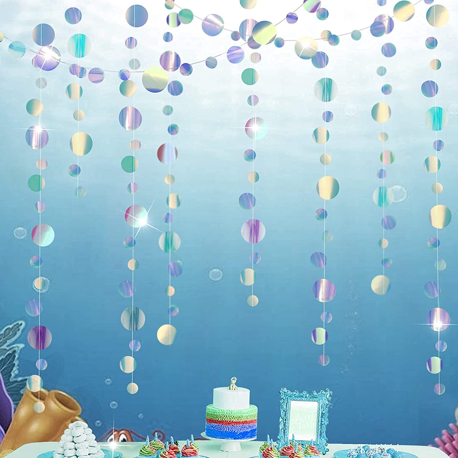 Under The Sea Circle Garland Holographic Bubble Garlands Iridescent Party Supplies Semi See-Through Hanging Bubbles Backdrop Streamer Decor Ocean Coral Baby Shower Little Mermaid Birthday Decoration
