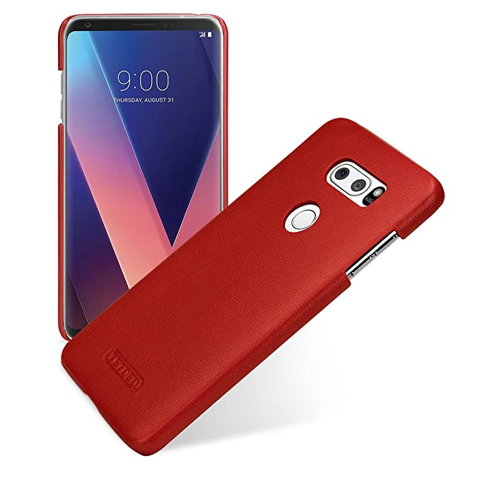 new product f75a2 b062f TETDED Premium Leather Case for LG V30 / V30+, Snap Cover, Caen (Nappa Red)