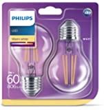 Philips LED Classic A60 E27 Non-Dim 2700K 2'li Ekopaket LED Sarı Filament Ampul, 60W