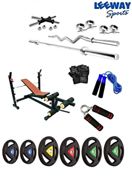 LEEWAY Premium Quality; Professional Gym Training; Home Gym Set with Double Color Metal Integrated Weight Plates with Olympic Weight Bench; Home Gym Combo; [10 KG to 200 KG] Home Gym Stations at amazon