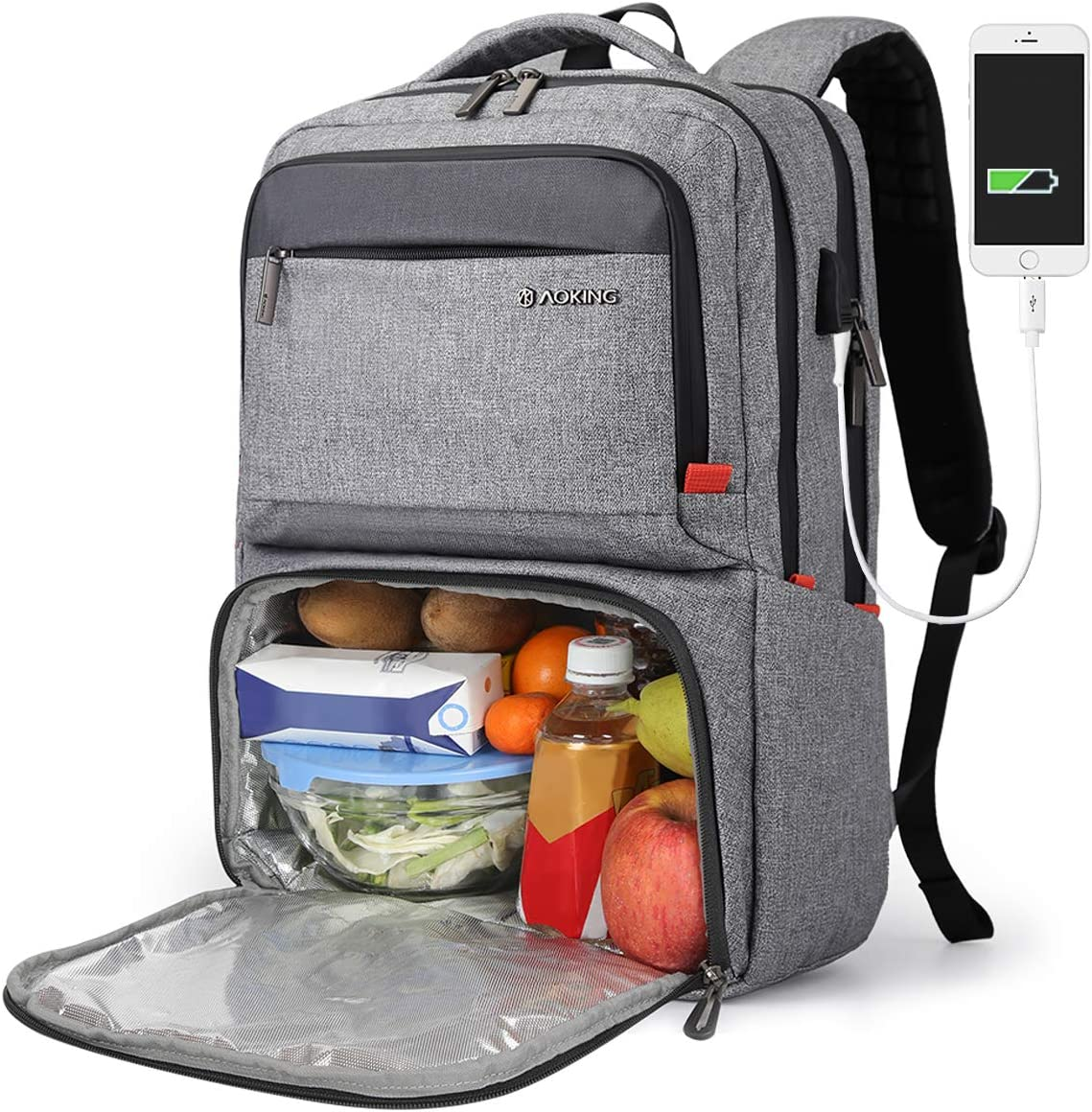 Lunch Backpack for Women, Insulated Cooler backpack with lunch compartment, College School Bookbag with USB Port, Fits 15.6 Inch Laptop, Waterproof Backpack Food Bag for Work Beach Camping Picnics