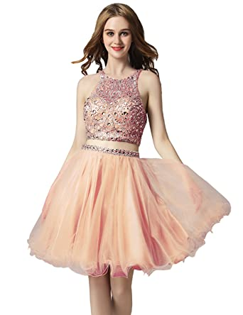 334d9abc3a2 Belle House Tulle Homecoming Dresses Short 2018 Homecoming Dress for  Juniors Two Piece Prom Dress with Beading at Amazon Women s Clothing store