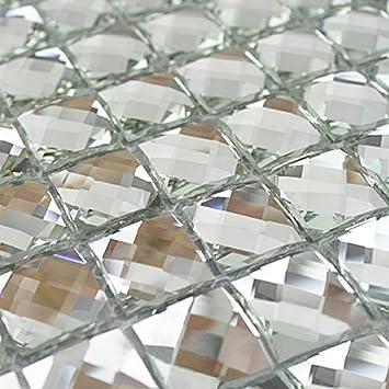 Mirror Tiles Silver Bathroom Wall Sheets Crystal Diamond Mosaic