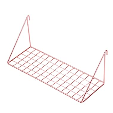 Simmer Stone Wall Grid Shelf, Wire Metal Hanging Rack for Wall Display & Storage, Size 11.8x4.3x4.7 inch (LxWxH), Rose Gold