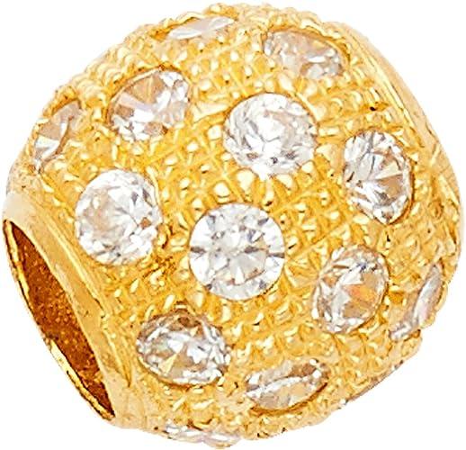 14k Yellow Gold CZ Sphere Pendant Charm