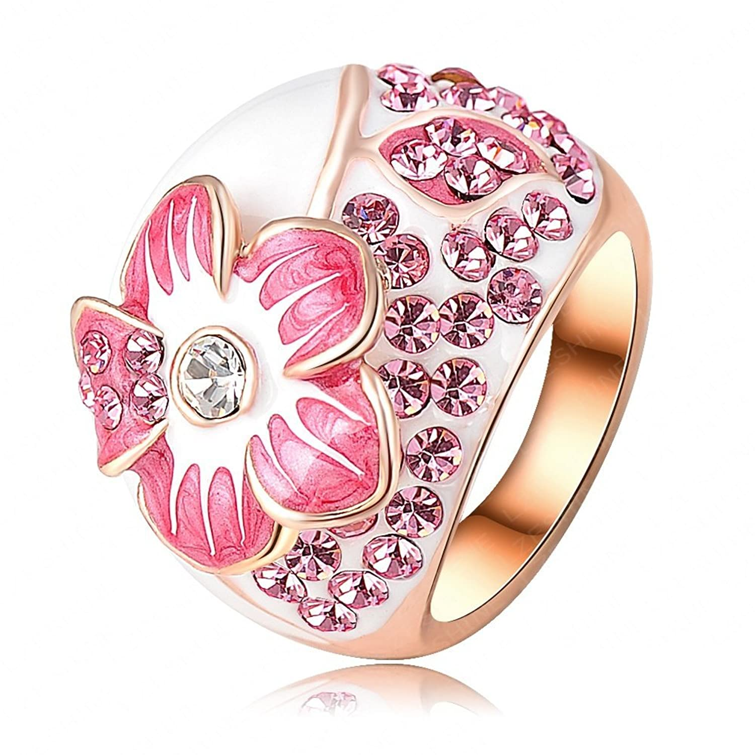 Amazon.com: Chanya Jewelry Pink Enamel Flower Ring Rose Gold Plated ...