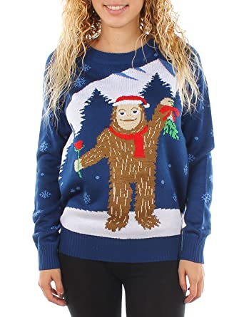 8776bdb3ea9a Tipsy Elves Women s Romantic Sasquatch Ugly Christmas Sweater ...