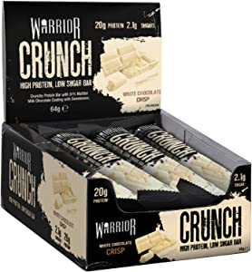 Warrior HIGH Protein Bars (20g Protein Each) - Low Carb, Low Sugar - Pack of 12 Caramel Crispy Crunch Bars - White Chocolate