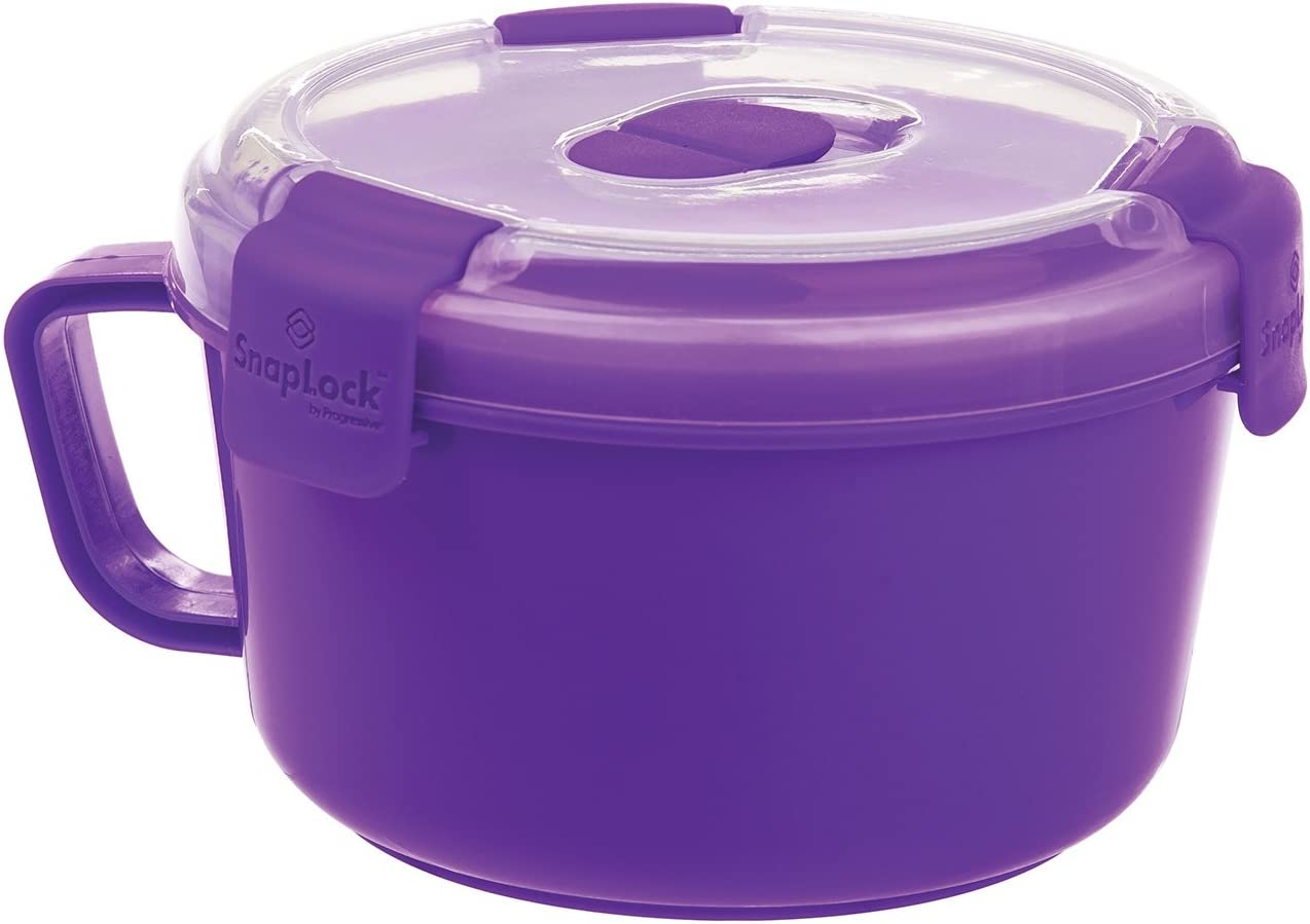 SnapLock by Progressive Noodles To-Go Container - Purple, Easy-To-Open, Leak-Proof Silicone Seal, Snap-Off Lid, Stackable, BPA FREE