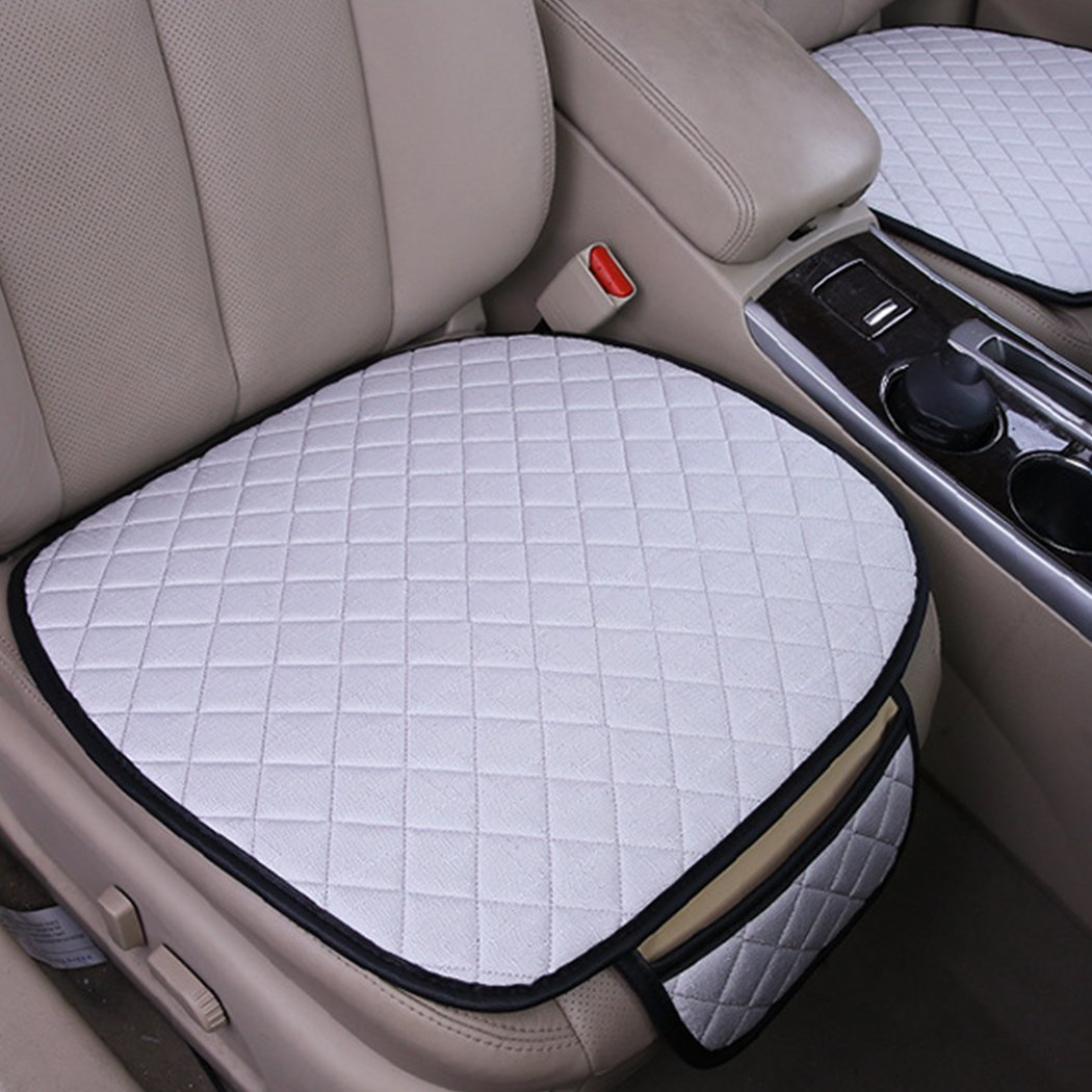 2pc Breathable Antiskid Car Seat Cushion Seat Cover Pad Mat for Auto Accessories Office Chair Cushion Four Seasons General Universal(Beige)