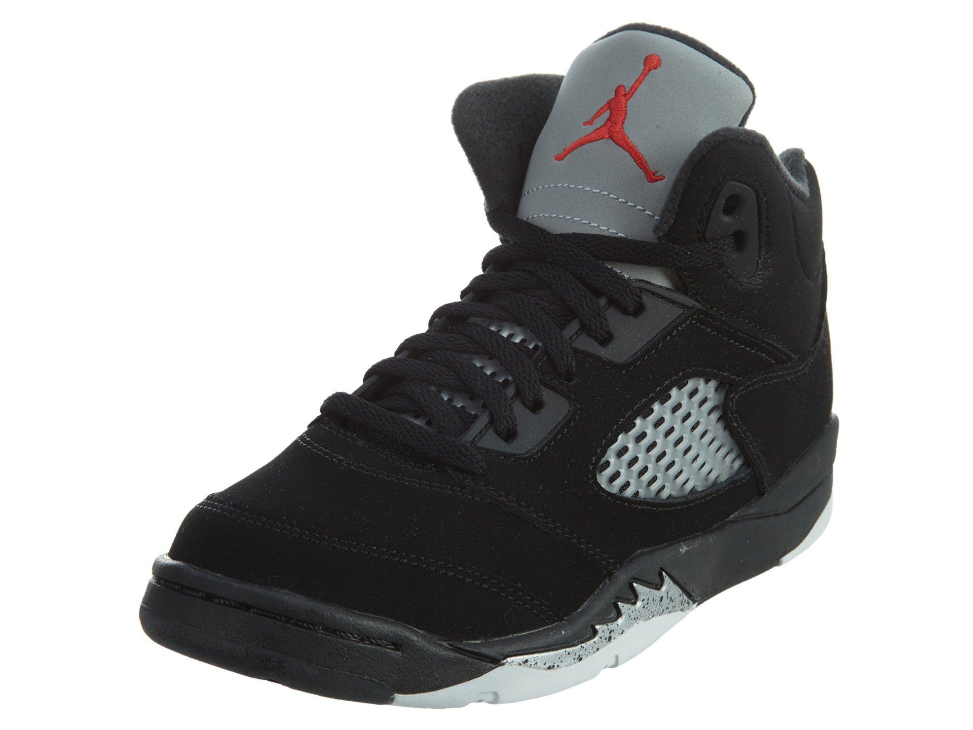 Nike Baby Boys Air Jordan 5 Retro BP OG Metallic Black/Fire Red-Mtllc Silver Suede Size 1Y