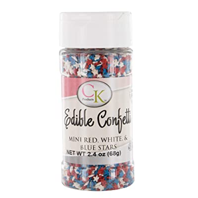 Mini Red, White & Blue Stars Edible Confetti 2.4 Ounces by CK: Grocery & Gourmet Food