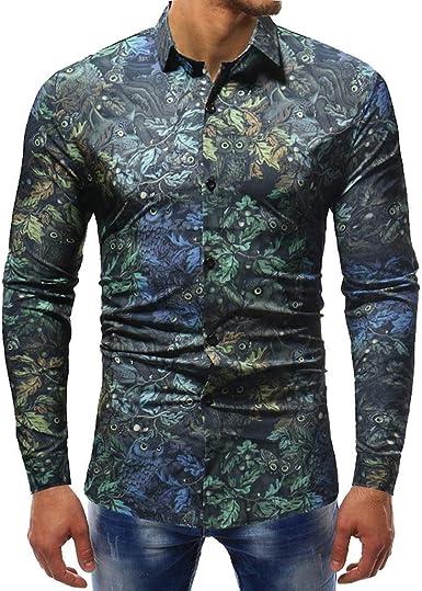 Sencillo Vida Camisa Hombre Manga Larga Slim Fit Estampadas Camisas de Hombre de Vestir Casual Delgada Camisa Hombres Clásico Cuello de Solapa con Botones Camiseta Básica Shirts: Amazon.es: Ropa y accesorios