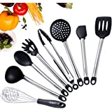 iSolem Silicone Kitchen Utensils Set, 8 Pieces Stainless Steel Cooking Tools for Pots and Pans - BPA Free Serving Spoon, Turner, Flex Spatula, Pasta Server, Deep Ladle, Strainer, Whisk, Tongs - Black