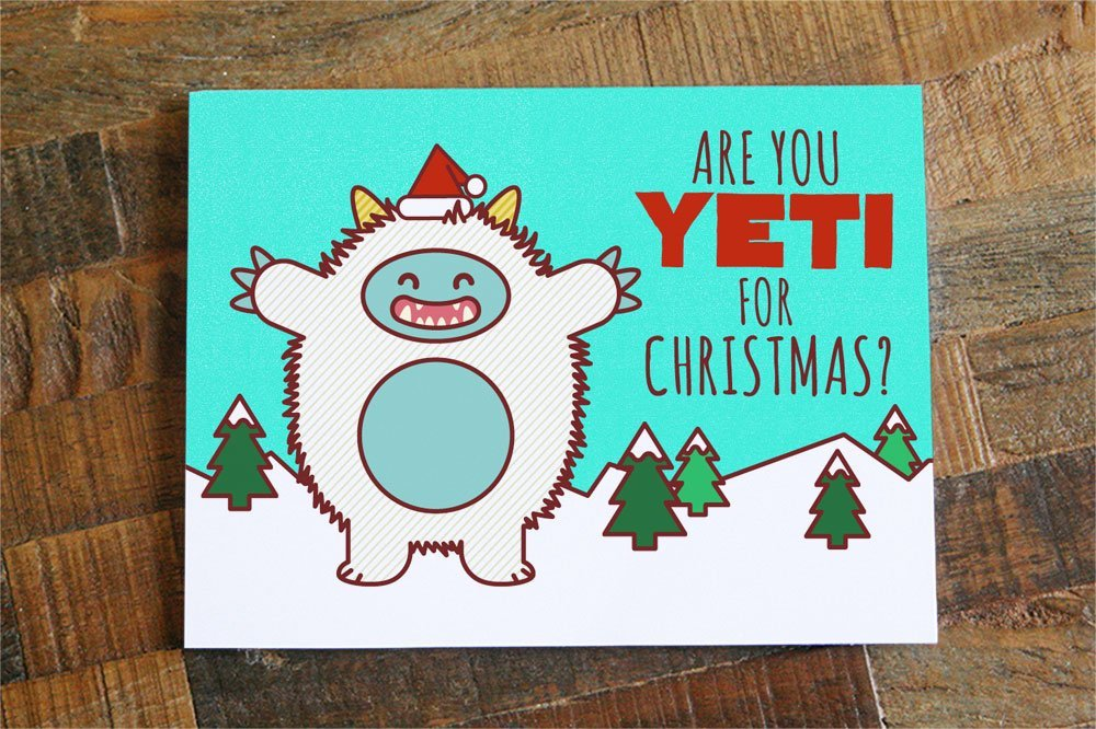 Amazon funny christmas card are you yeti for christmas pun pun card cute yeti funny holiday card xmas cards greeting card happy holidays handmade m4hsunfo