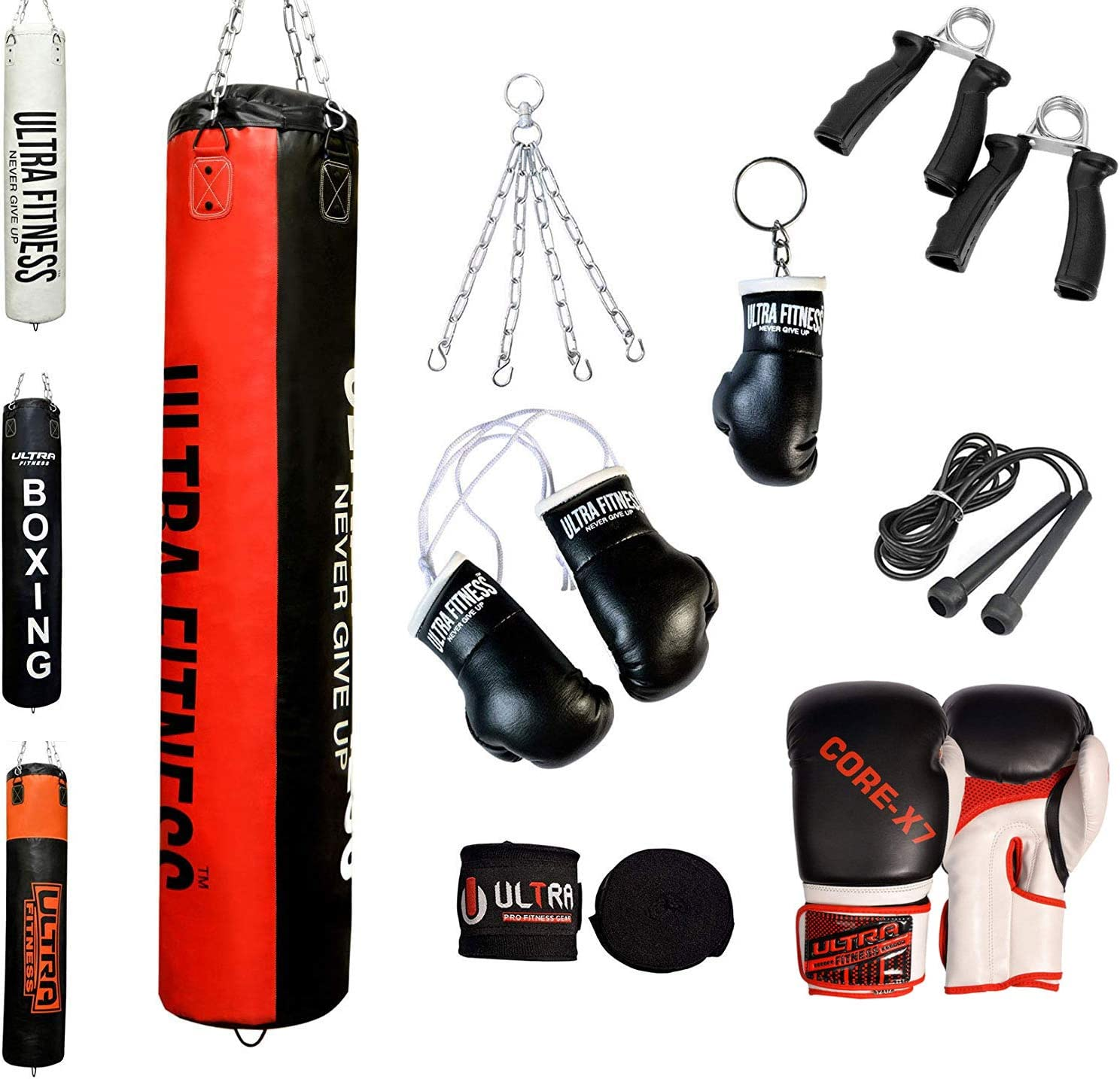 ULTRA FITNESS Boxing Punch Bag set of 12 pieces Kick Boxing MMA Heavy Punching Muay Thai Training