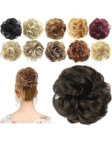 Feshfen - Coletero con extensiones de cabello en forma de donut para cabello rizado y ondulado