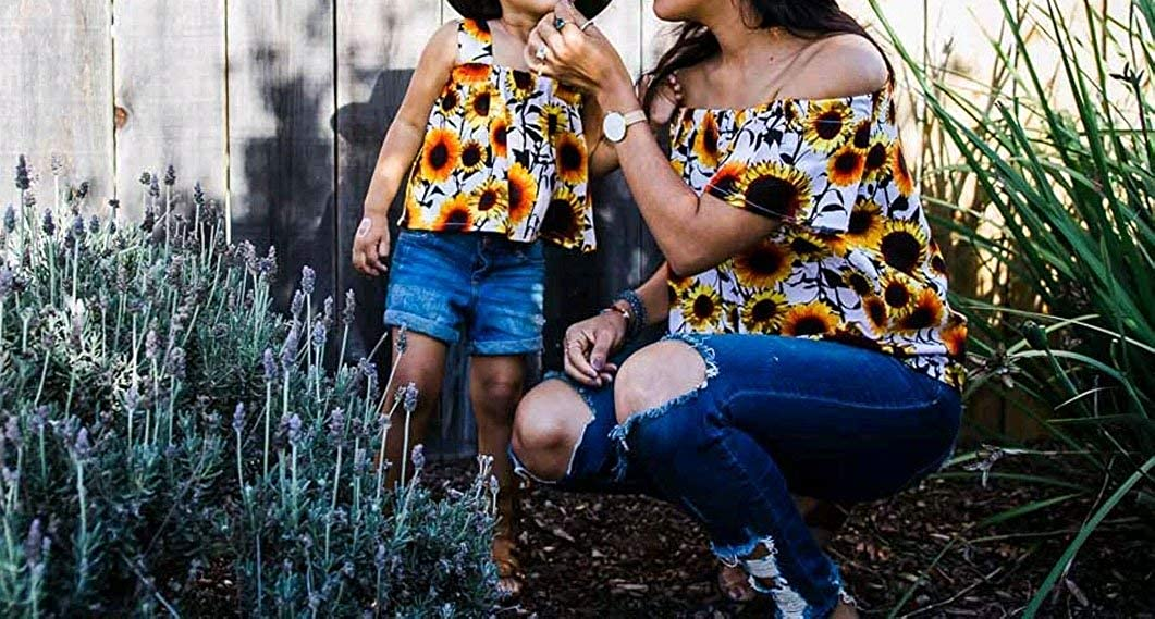 Mother Daughter Matching Sunflower Print Off Shoulder T Shirt Top Mommy and Me Family Matching Shirts Clothes
