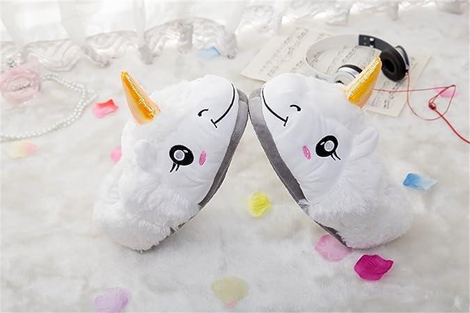 3c33e5ac6b22b Ruiying Chaussons Peluche Licorne Cute Enfants Filles et Garçons Costume  Cosplay Pantoufles en Coton Chaussure Maison Doux Blanc