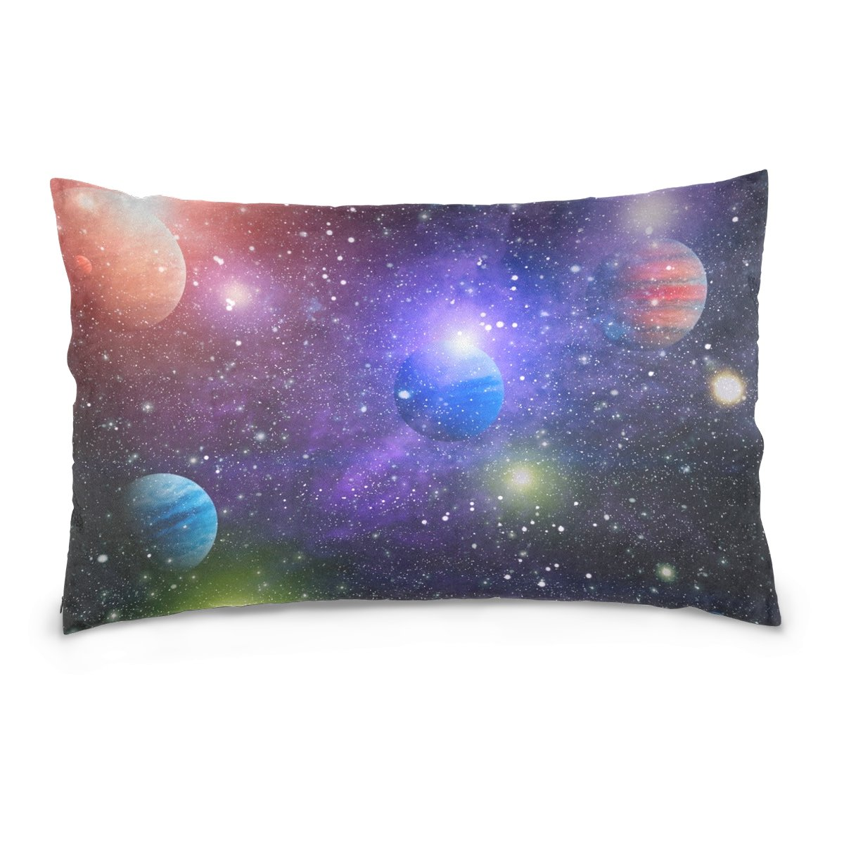 ALAZA Nebula and Galaxy in Outer Space Solar System Cotton Lint Pillow Case,Double-sided Printing Home Decor Pillowcase Size 16''x24'',for Bedroom Women Girl Boy