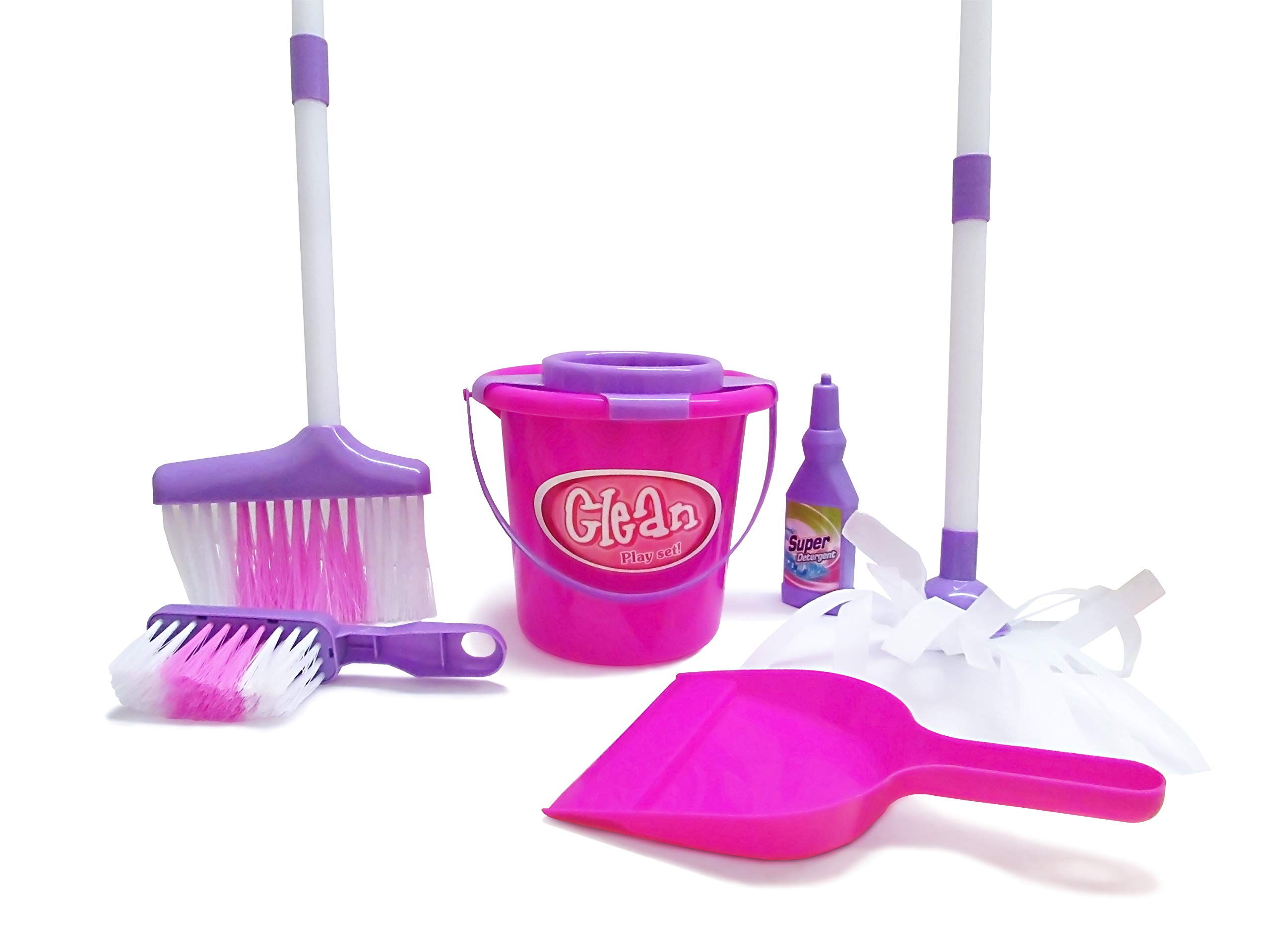 Dazzling Toys Little Girls Just Like Mom Cleaning Set. Set Includes Broom, Dust Brush, Pail and More by Dazzling Toys