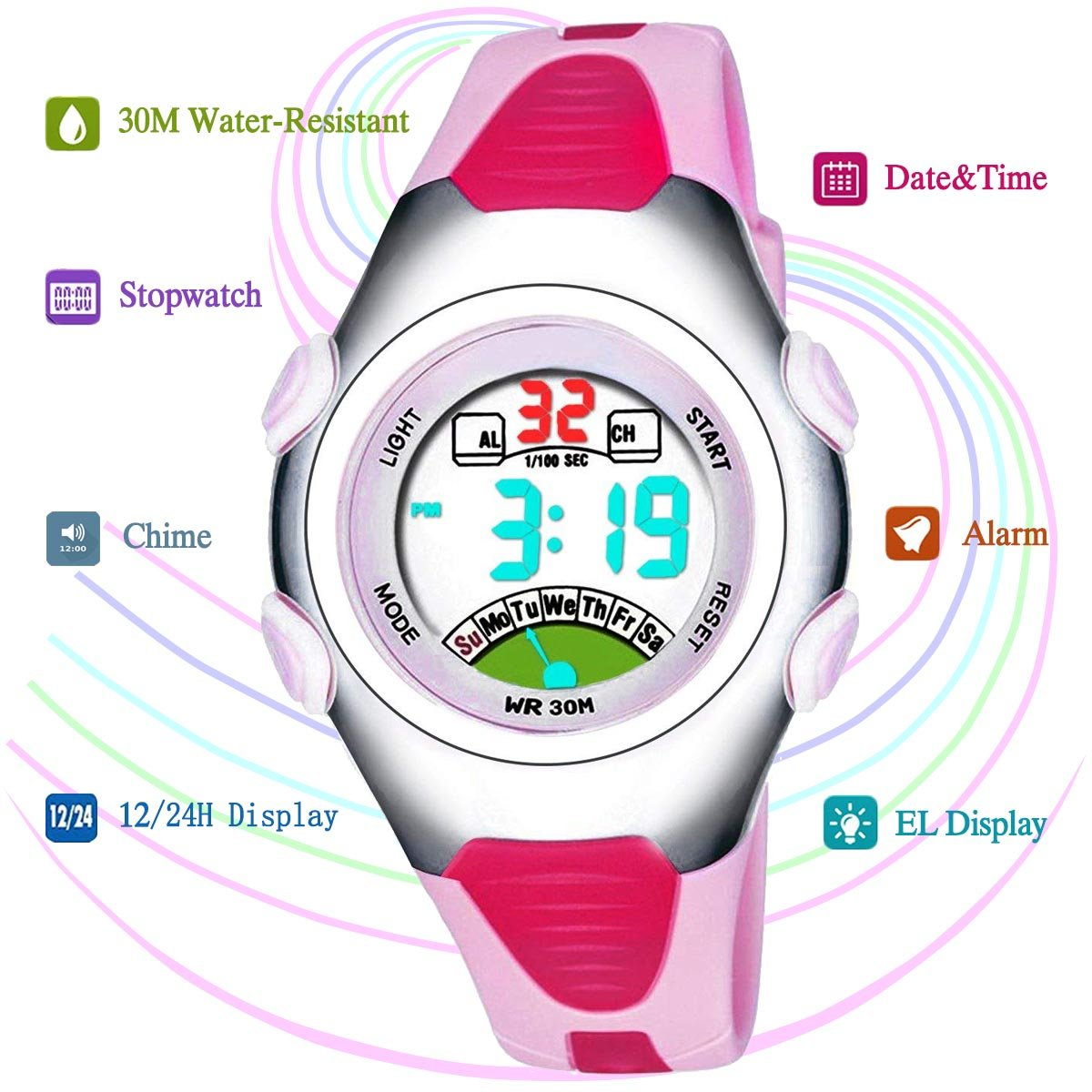 Very Sweet Children Boys Girls Digital Waterproof Luminous Watches with Alarm Chronograph Date - Pink by PASNEW
