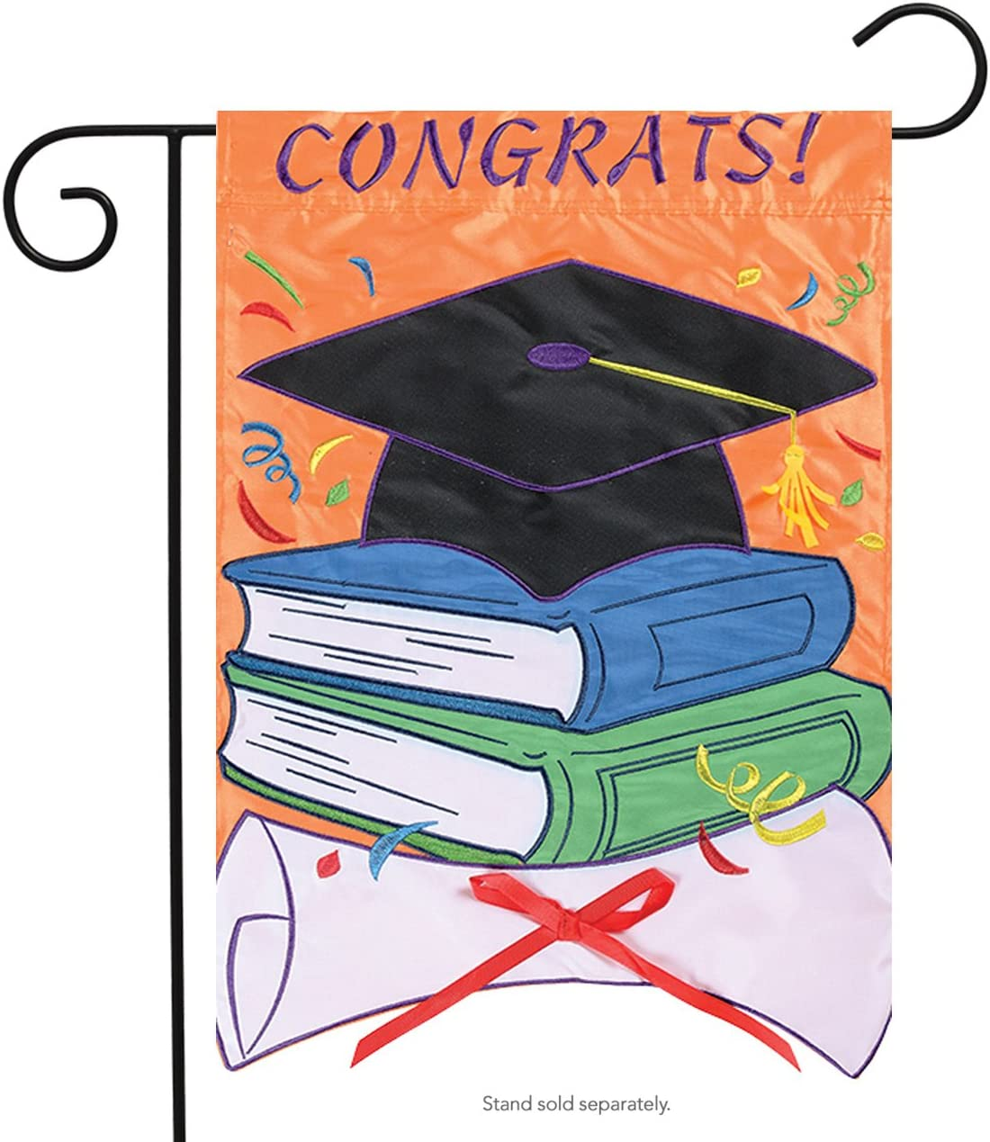 Carson Applique Garden Flag - Congrats!