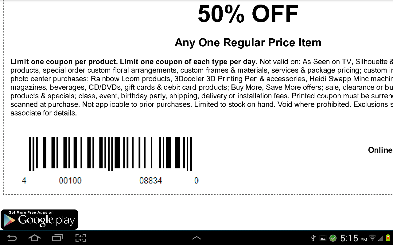Amazon Com Coupons For Michaels Canada Appstore For Android