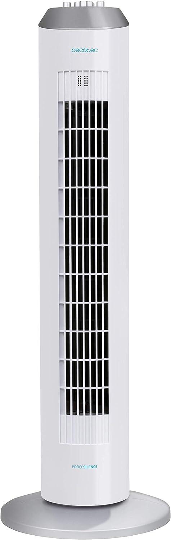 Cecotec Ventilador de Torre ForceSilence 8090 Skyline. 33'' (84cm) de Altura, Oscilante, Motor de Cobre, 3 Velocidades, Temporizador 8 Horas, 60W